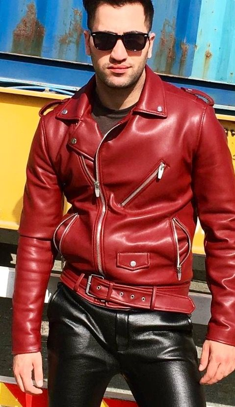 A rare RED classic style motorcycle jacket with leather jeans.