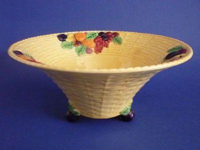 Large Carlton Ware Yellow 'Fruit Basket' Bowl c1935