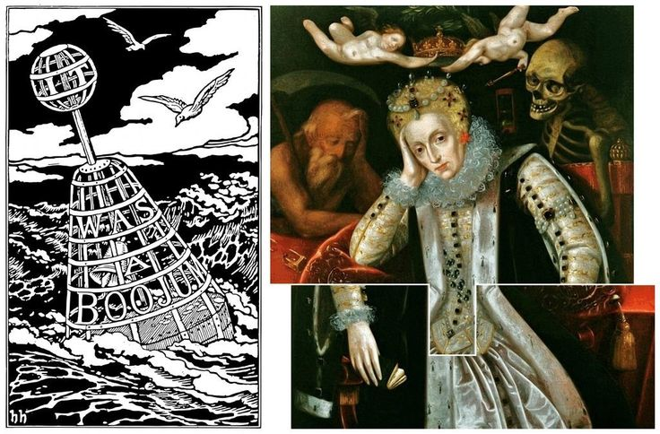 Allusion to an allegorical painting (c. 1610) depicting Elizabeth I at old age in the back cover illustration by Henry Holiday to Lewis…