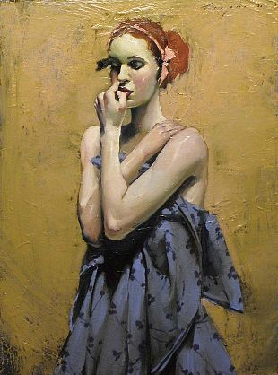 Liepke. Arms Clasped. oil on canvas. colors- love them