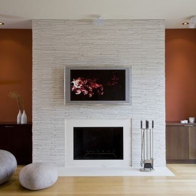 Stacked Stone Linear Fireplace Tv Design Pictures