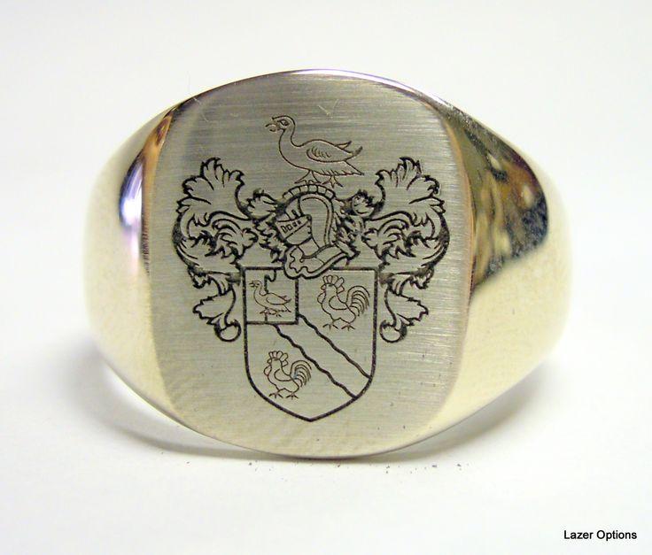 Laser Engraving on 18ct White Gold Signet ring. Family Crest