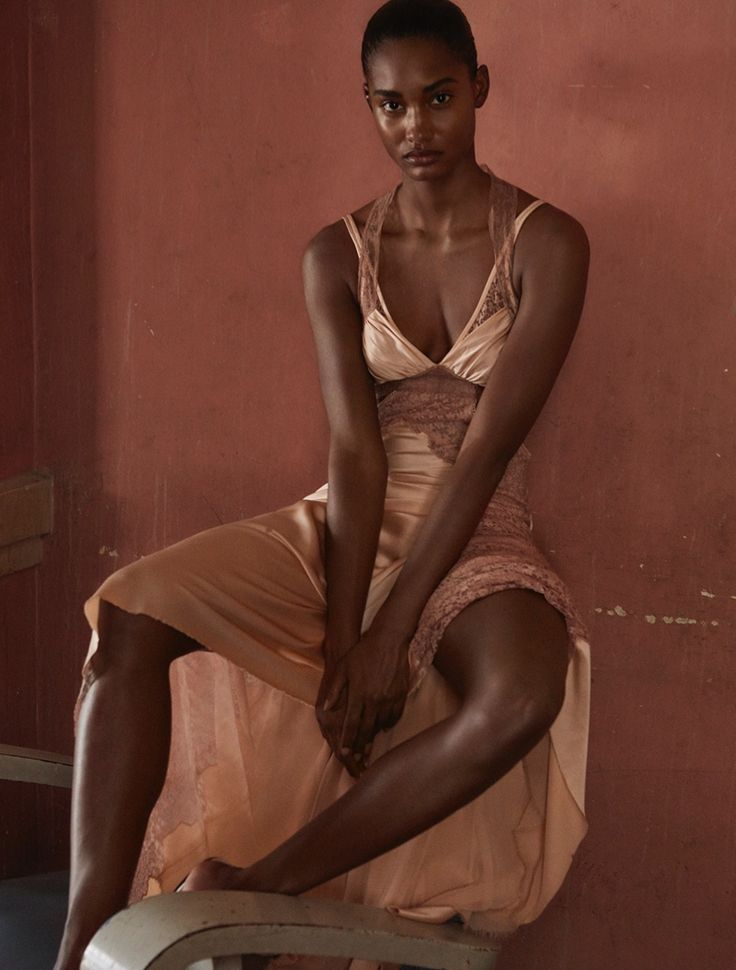 Melodie Monrose wears lace-trimmed slip dress by Alexander Wang
