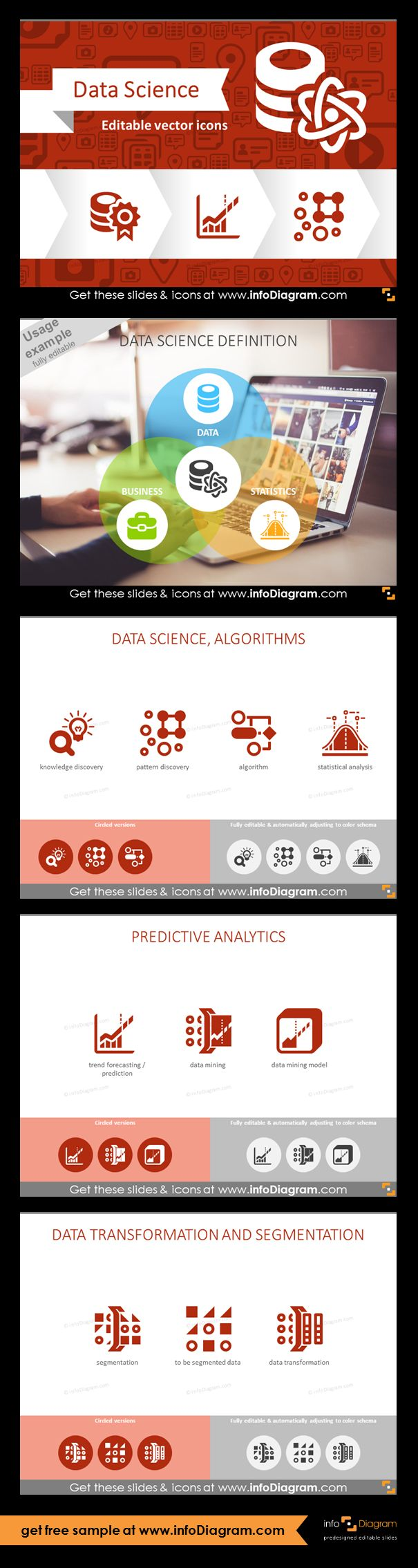 Data Science graphics.  Icons of knowledge discovery, algorithm and statistical analysis. Predictive analytics: trend forecasting and predictions, data mining, modeling. Data transformation and segmentation. Data Science definition: three Data Science components - data, business, statistics.