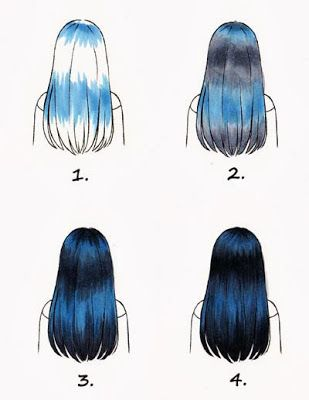 If you ever want to draw silky black hair (like silvermist) you should start of with shading some of the hair with blue, leaving rest white. Then put a little grey then black. Shade the black with grey to make darker and you get this:-)