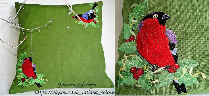 Christmas machine embroidered cushion. This Christmas pillow cover will be a great addition to your Christmas decor or make a great gift! It will fit pillows approximately 17,4 x 17,4 inches.  #embroidered_cushions#Christmas_present#interior_decoration#Christmas_interior#pillow_for_the_couch#Christmas_pillow