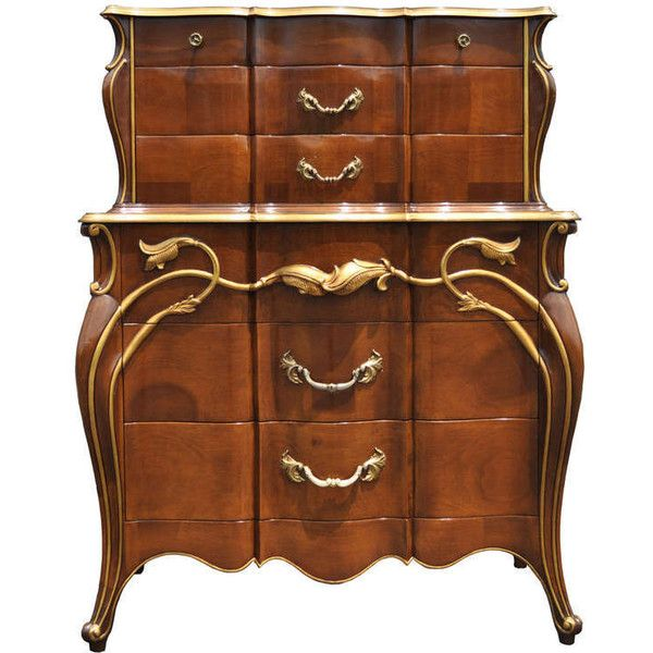 Vintage Art Nouveau Style Solid Cherry Tall Chest or Dresser,... ❤ liked on Polyvore featuring home, furniture, storage & shelves, dressers, cherry furniture, red dresser, dovetail dresser, cherrywood furniture and cherry wood furniture