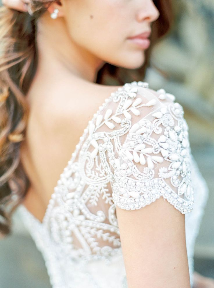Anna Campbell Hand-beaded Anna Dress with cap sleeves from the Ceremony Collection | Photography by Callie Manion