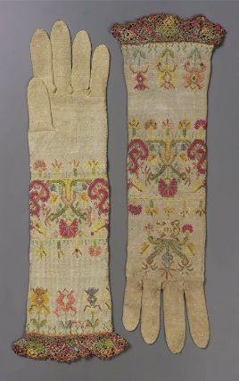 Pair of women's knitted gloves        Italian, 1650–1700         Italy  Dimensions      39.5 cm (15 9/16 in.)  Medium or Technique      Silk; embroidery    Accession Number      38.1354a-b