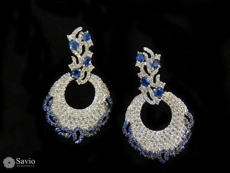 Statement #earrings with dazzling #diamonds and serene #blue! #Savio #jewellery #jaipur #jewelry