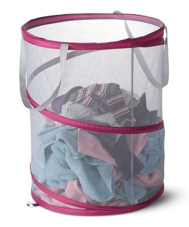 This Raspberry & Light Pink Mesh Spiral Laundry Hamper is
