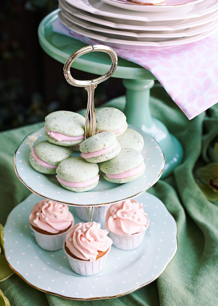 Pistachio macarons with pink icing | Home Beautiful magazine