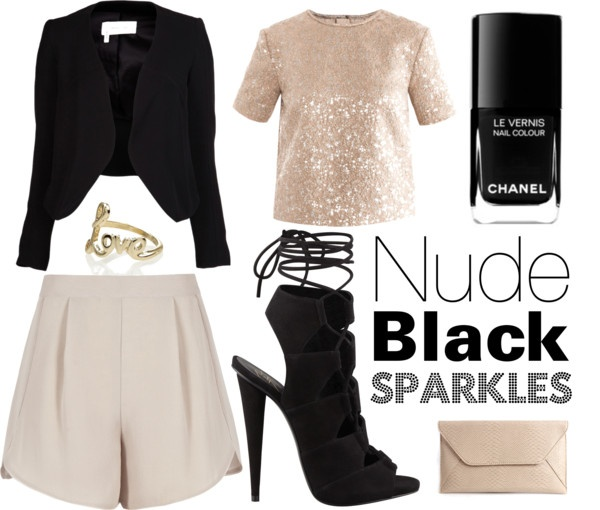 """Nude Black Sparkles"" by michelleanned on Polyvore"