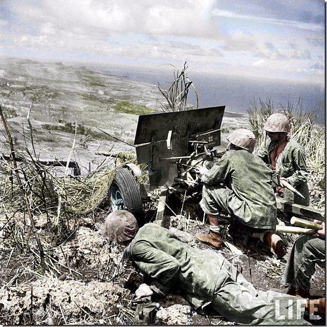 "the_ww2_memoirs US Marines fire onto Japanese positions atop the summit of Mount Topachau which over looked the entirety of the island of Saipan, Mariana Islands, early July, 1944. The fighting in and around Mount Topachau was especially costly with regions of the area gaining nicknames like ""Purple Heart Ridge, ""Death Valley"", and ""Hells Pocket."" The Japanese had most of their defensive positions set up in the caves and hills on or around Mount Topachau which was the reason for the…"