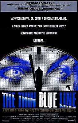 """""""The Thin Blue Line"""" is the fascinating, controversial true story of the arrest and conviction of Randall Adams for the murder of a Dallas policeman in 1976. Billed as """"the first movie mystery to actually solve a murder,"""" the film is credited with overturning the conviction of Randall Dale Adams for the murder of Dallas police officer Robert Wood, a crime for which Adams was sentenced to death."""