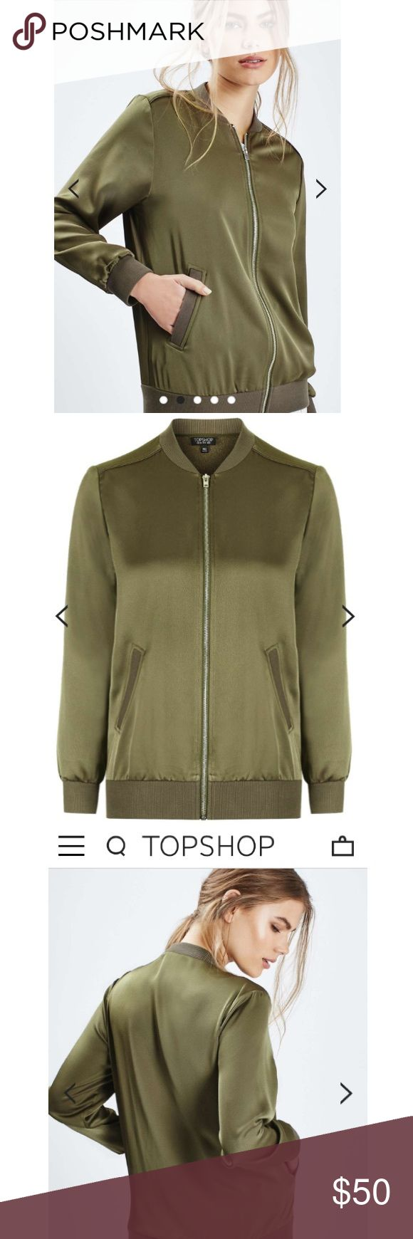 Topshop satin bomber jacket Topshop satin bomber jacket, dark army green color. Amazing material! Brand new with tags attached! Topshop Jackets & Coats