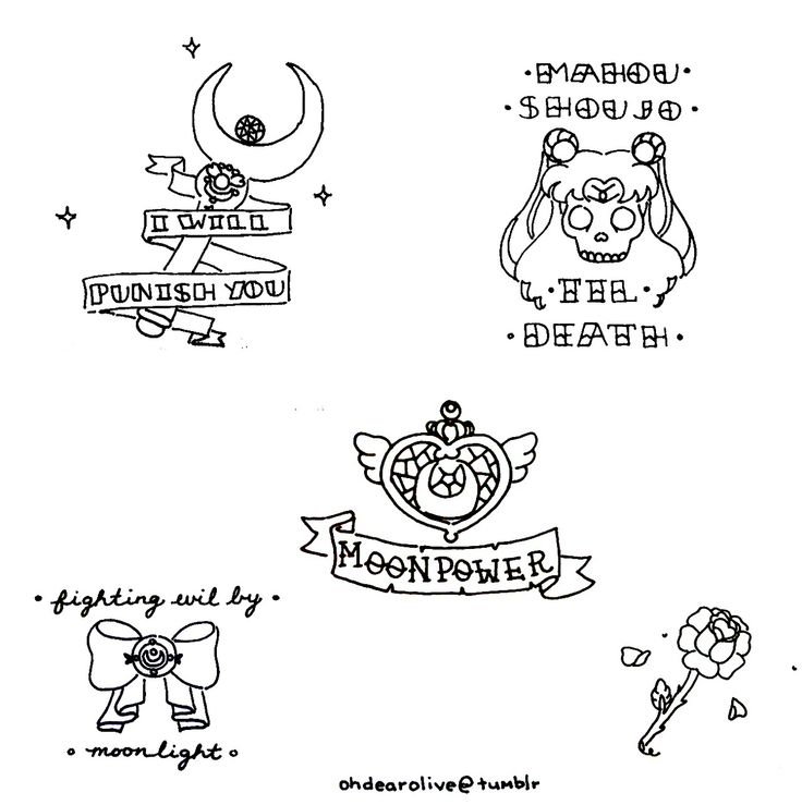 i drew some sailor moon themed traditional tattoos as a set(◡‿◡✿) i do want to colour them soon but i am very tired! i worked very hard on ...