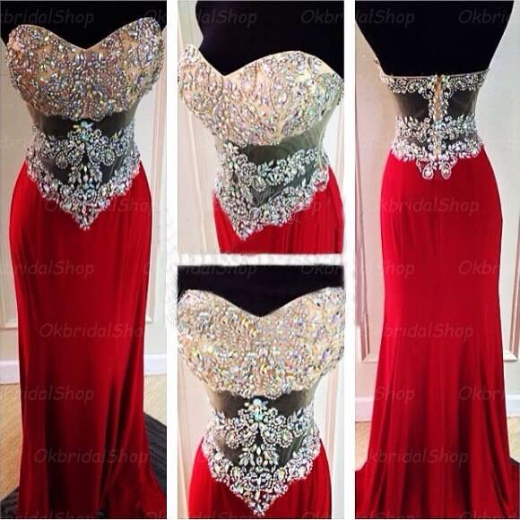 Red Sexy Prom Gowns 2015 Mermaid Sweetheart Backless Crystals Long Chiffon Formal Party Dresses Prom Dress