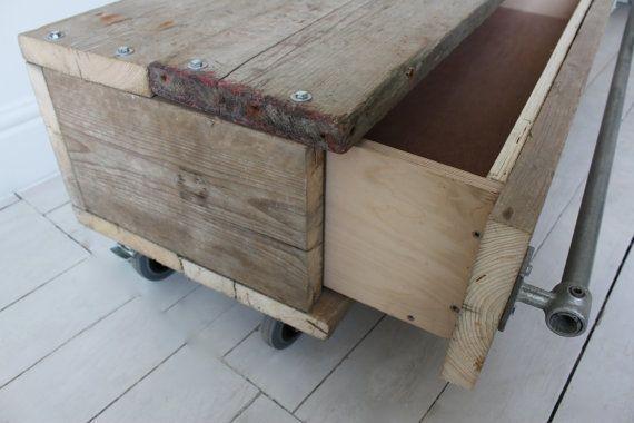 Long Low Wooden Tv Unit: Violet Reclaimed Scaffolding Board Long Low Coffee Table