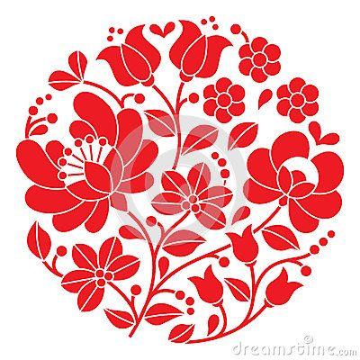 Bordado rojo de Kalocsai - modelo popular floral redondo húngaro