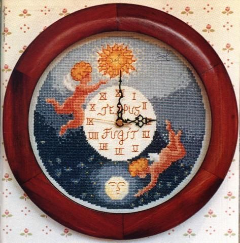 Schema punto croce Orologio Angeli Giorno Notte1