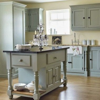 Like this color combo - grey cabinets, soft seafoam blue cabinets, wood floor…