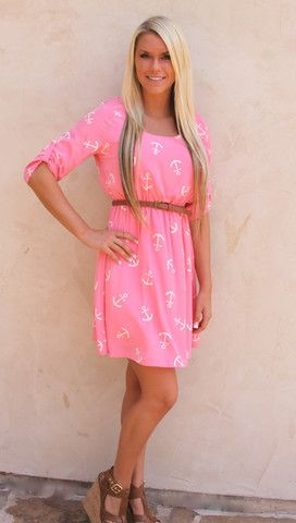 Forget me Knot dress! peach with white anchor print www.laurenandlayneboutique.com