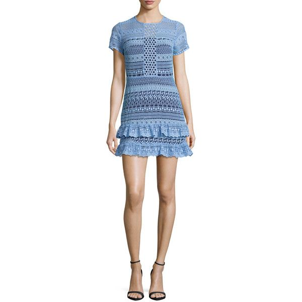 Parker Darcy Lace Tiered-Hem Mini Dress ($100) found on Polyvore featuring women's fashion, dresses, light blue, short-sleeve lace dresses, short-sleeve dresses, blue mini dress, lace mini dress and blue short sleeve dress