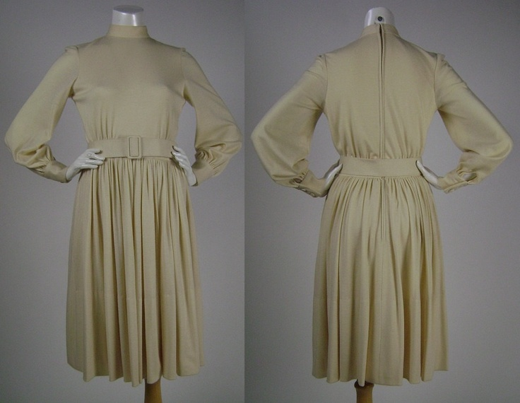 Ivory Wool Knit Dress  1970s
