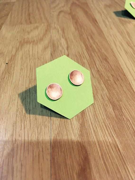 Circle stud earrings, Copper stud earrings, Minimalist earrings, Geometric stud earrings, Dainty stud earrings, Bridesmaid gift
