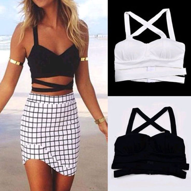Hot Sexy Women Boho Cut-out Cage Bustier Bralet Crop Top Croset Blouse Cami Tank #Unbranded #TankCami #Casual