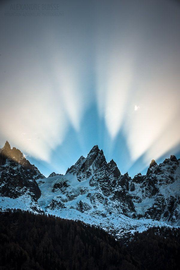 Sunrise behind Aiguille de Blaitière, Chamonix. You suspect to hear music rising up!