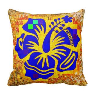 Abstract Blue Hibiscus Flower on soft pillow. Pillow