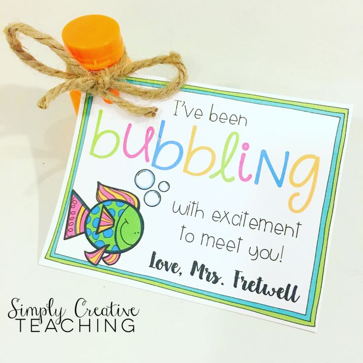 Back to school gift tag for students - just attach bubbles!
