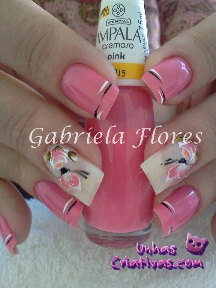 Diseño de uña... Mariposa rosa