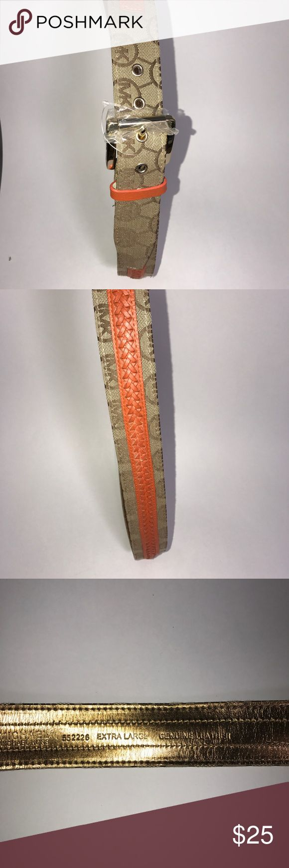 """Michael Kors Woman's Belt Tan Dark Orange XL Michael Kors Woman's tan and dark orange leather and fabric belt. From first to last hole, 40-44"""". (Y2-21)     🌼 No holes, piling or stains. Items stored in smoke free, pet free, perfume free environment. No trades or modeling. Same or next day shipping.  Save by bundling. All offers should be submitted with the offer button. Michael Kors Accessories Belts"""