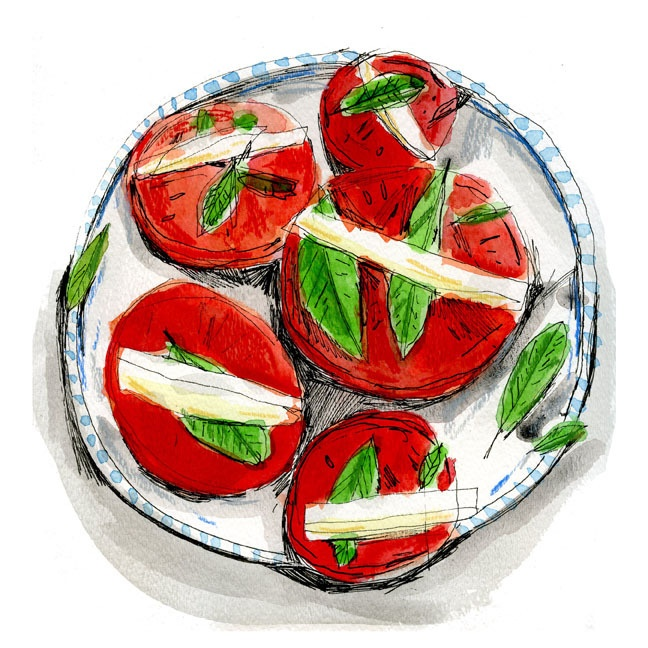 Elizabeth Graeber: Art Illustrations, Caprese Salad, Capr Salad, Art Inspiration, Tomatoes Basil Mozzarella, Tomato Basil Mozzarella, Cooking Food Illustrations, Elizabeth Graeber, Food Art
