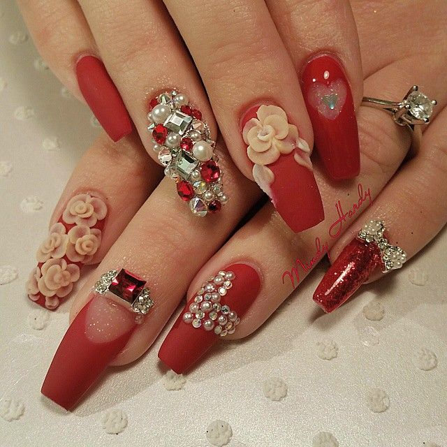 red coffin nails with bling design so beautiful