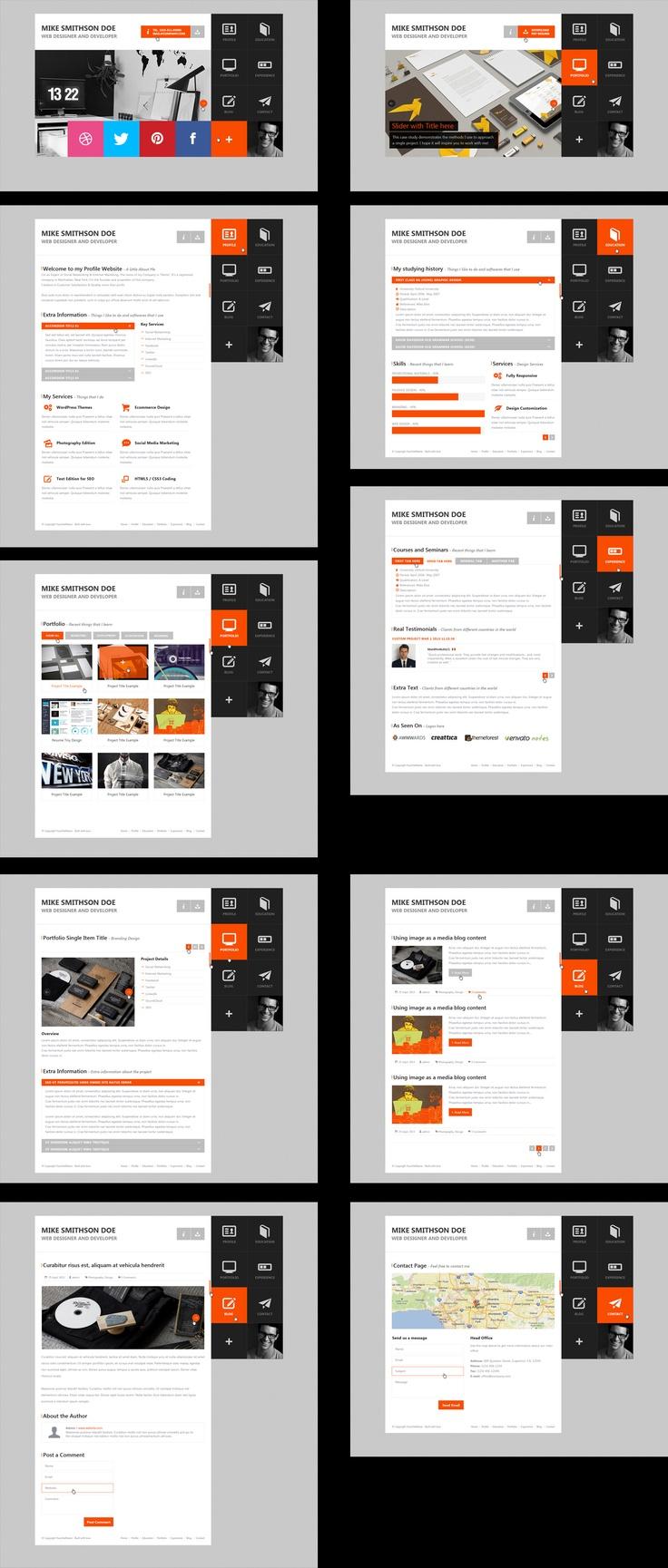 flat resume virtual business card psd design webdesign template web - Virtual Resume