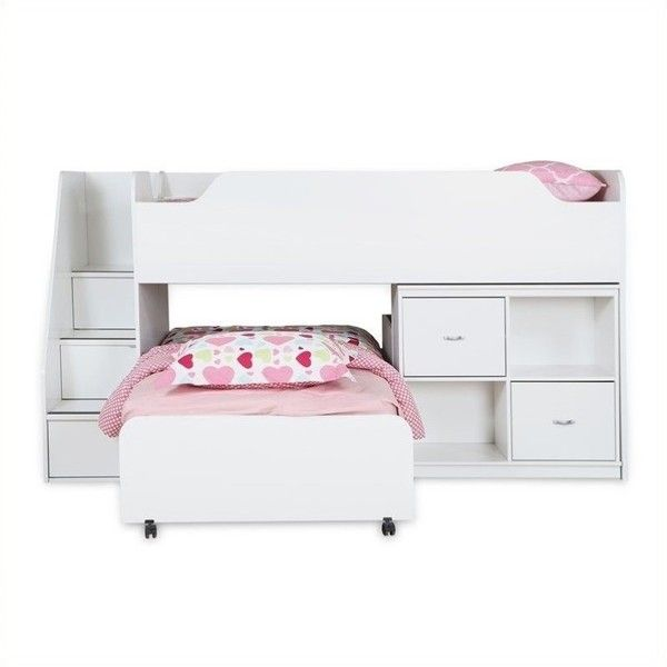 South Shore Mobby Twin Loft Bed with Trundle and Storage ($966) ❤ liked on Polyvore featuring home, children's room, children's furniture and white
