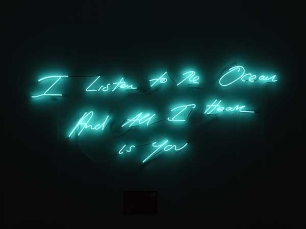 Tracey Emin, I listen to the ocean and all I hear is you, 2011 (I promise to love you, Times Square installation, NYC, February 2012)