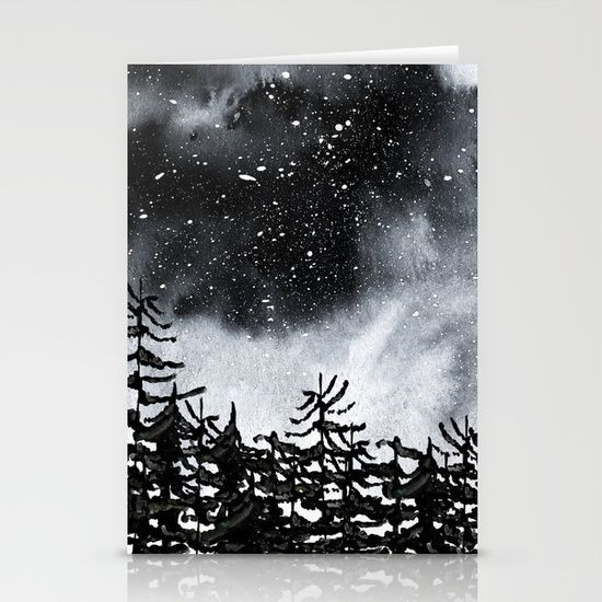 Lost Stationery Cards Watercolor sky and trees. Inspired by the cold night Northern skys. #watercolor #trees #art #artist #design #nature #wanderlust #forest #blackandwhite #nightsky #north #cold #cards #stationary