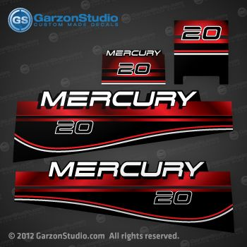 Quicksilver mercury 20 decal set replica of part number for a mercury outboard cowling 1998 this set may work also for other models custom made color