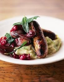 Sausages with Pan Cooked Chutney and Leek Mash...  I tried this last night and it was delicious!  I used caramelised onion sausages to bring out the best of the flavours.  #dish #JamieOliver #meal #food #recipes #dinner
