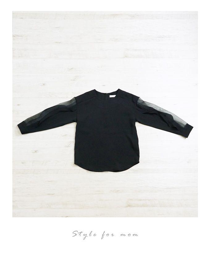 【楽天市場】(ブラック)透け感が素敵な袖フリルブラウス2/19新作:Style for mom