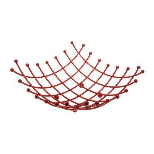 Corbeille à fruits  - Acier - 27 x 27 x 10,5 cm - Rouge