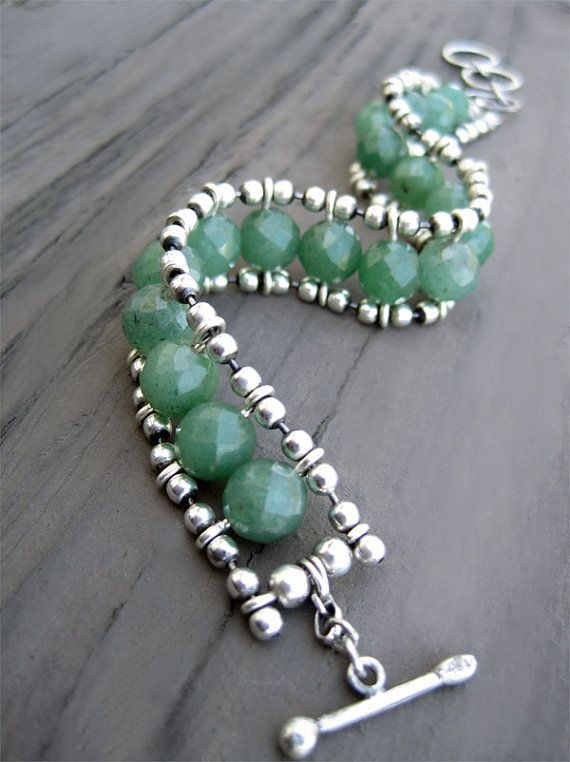 Green Bead Bracelet, Aventurine Quartz and Sterling Silver Chain