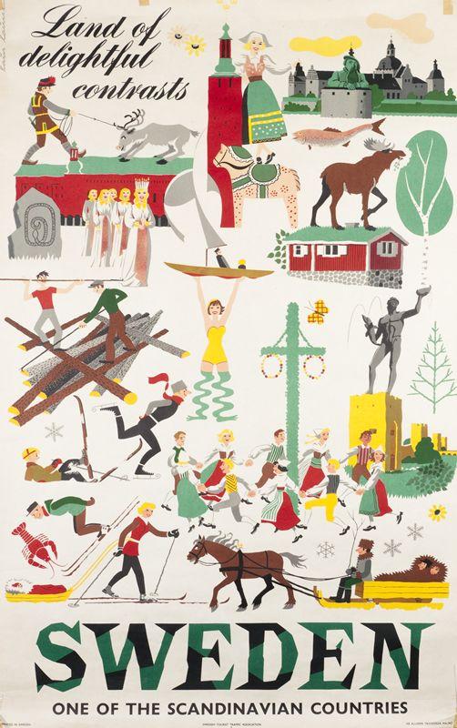 Sweden - Land of delightful contrasts, ca. 1950. International Poster Gallery