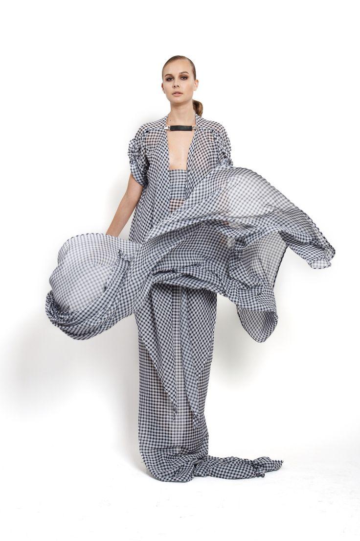 checkered silk and cotton shirt and maxi scarf, design Lucie Kutálková/ LEEDA