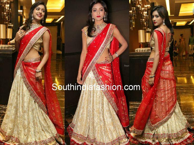 Vithika Sheru in Bhargavi Kunam Half Saree Celebrity Sarees, Designer Sarees, Bridal Sarees, Latest Blouse Designs 2014 South India Fashion